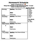 Weekly Homework Schedule