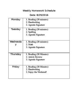 Weekly Homework Schedule (Editable)