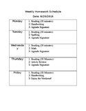 Weekly Homework Schedule (Editable)