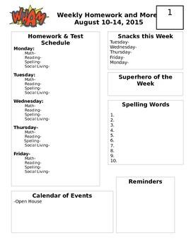 Weekly Homework Sheet (Superhero Theme)