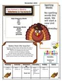 November Weekly Homework Sheet