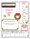 December Weekly Homework Sheet