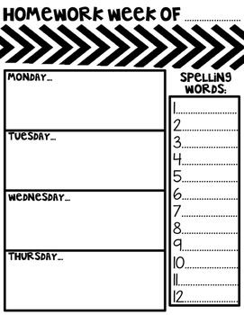 Weekly Homework Sheet