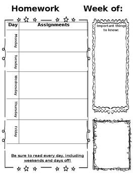 Weekly Homework Sheet Editable