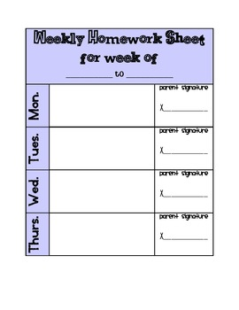 Weekly Homework Sheet (Agenda Page)