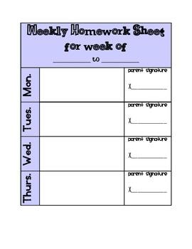 Weekly Homework Sheet (Agenda Page)
