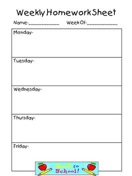 Weekly Homework Sheet-Complete Set by Teaching the Stars | TpT