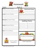 Weekly Homework Sheet (Free)