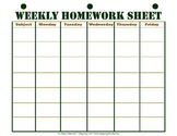 Weekly Homework Sheet Printable