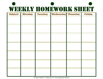homework assignment sheet template