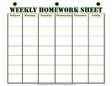 Weekly Homework Sheet Printable