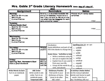 Weekly Homework Sheet or Newsletter