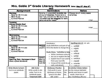 Weekly Homework Sheet or Newsletter