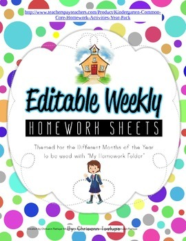 Weekly Homework Sheets Themed for Different Months of the Year-Kindergarten