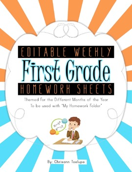 Weekly Homework Sheets Themed for Different Months of the Year-First Grade