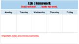Weekly Homework Slide