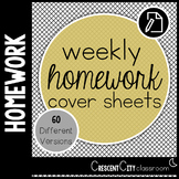 Weekly Homework Cover Sheets