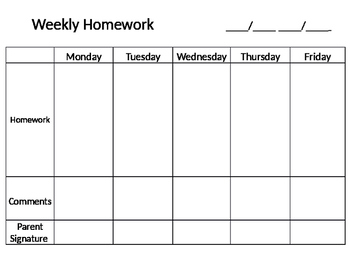 Weekly Homework Template by Sailing into fourth | TpT