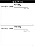 Weekly Homework Template (Editable)