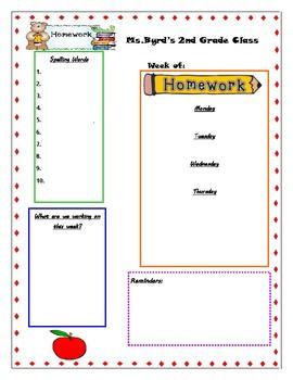 Weekly Homework Template/Newsletter