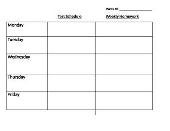 Weekly Homework Templet