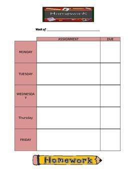 Weekly Homework Tracker