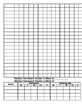 Weekly Homework Tracker Packet