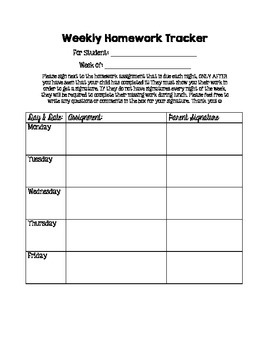 Weekly Homework Tracker with Parent Signature