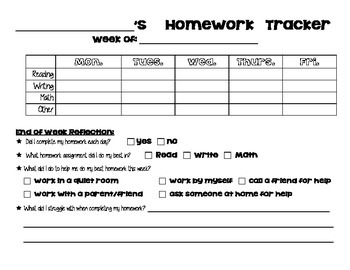 Weekly Homework Tracking and Reflection
