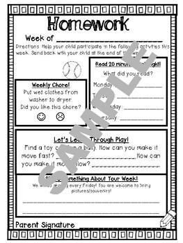 Weekly Homework Year Long Bundle