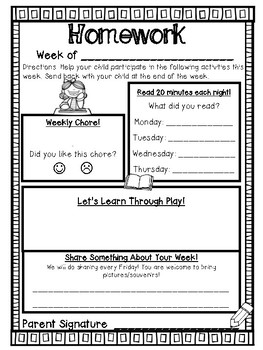 Weekly Homework Year Long Bundle