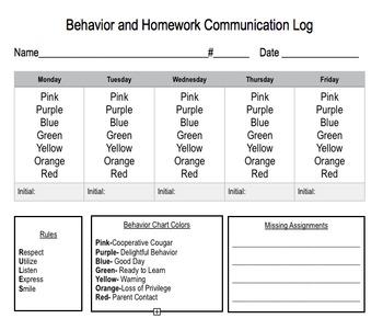 Weekly Homework and Behavior Chart
