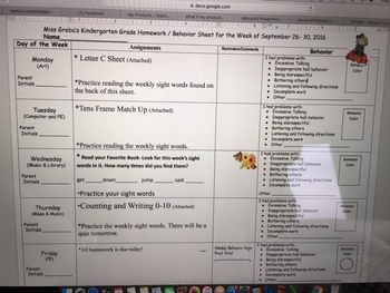 Weekly Homework and Behavior Sheet (full year)