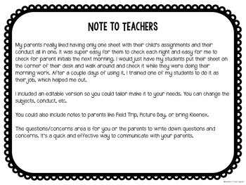 Weekly Homework and Behavior Sheet - with Parent Communication