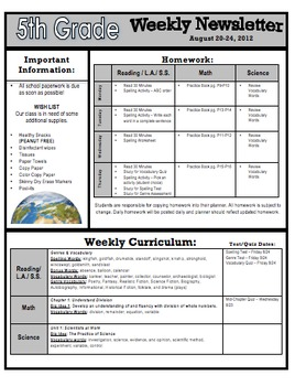 weekly homework and curriculum newsletter templates 2 by jodi