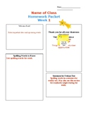 Weekly Homework letter for parents