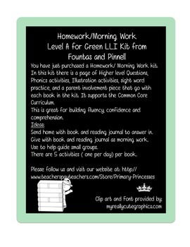 Weekly Homework/Morning Work Kit for LLI Green Kit Level A
