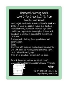 Weekly Homework/Morning Work Kit for LLI Green Kit Level G
