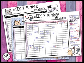 image about Weekly Hourly Planner Pdf called Weekly Hourly Planner / Organizer for learners and lecturers - Lovable Cats