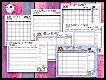 Weekly Hourly Planner / Organizer for students and teachers - Cute Cats