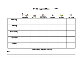 Weekly Hygiene Chart - Elementary - Special Education