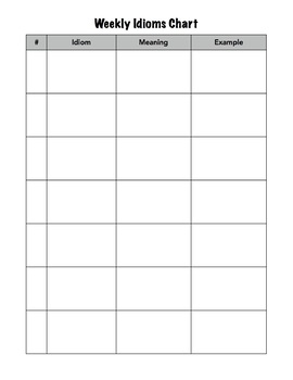 Weekly Idioms Chart (Blank)