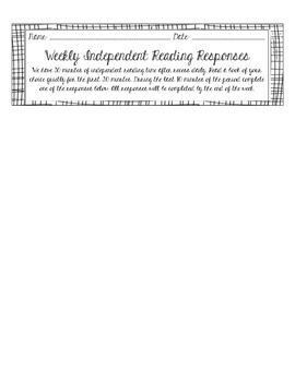 Weekly Independent Reading Response Rubric