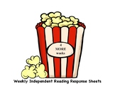 Weekly Independent Reading Response Sheets - 4 Weeks Popco