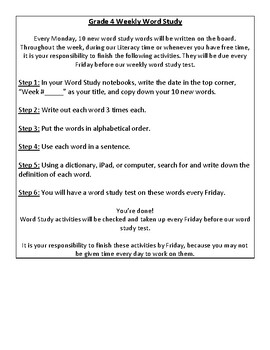Weekly Independent Word Study Activities