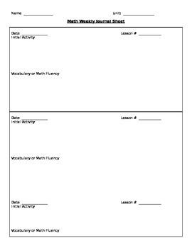 Weekly Journal Sheet