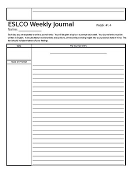 Weekly Journal Template - English, ESL, other