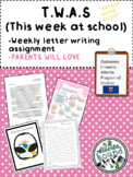 TWAS (This week at school)- Weekly letter to Parents