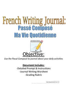 Weekly Journal with Passe Compose for French Students: Rubric Included