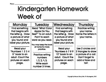 Weekly Kindergarten Homework